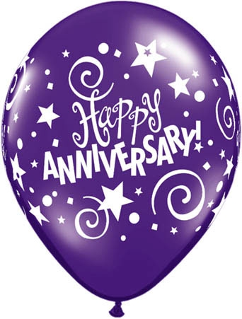 "Happy Anniversary 11"" Latex Balloons (10) Mixed Colours"