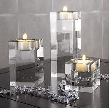 Clear Crystal Tealight Holder Set