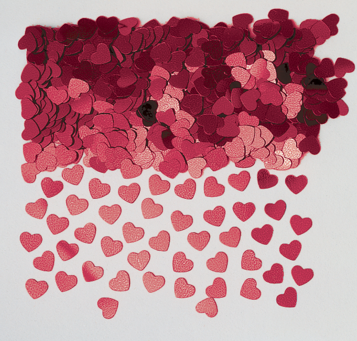 Burgundy Sparkle Heart Metallic Confetti