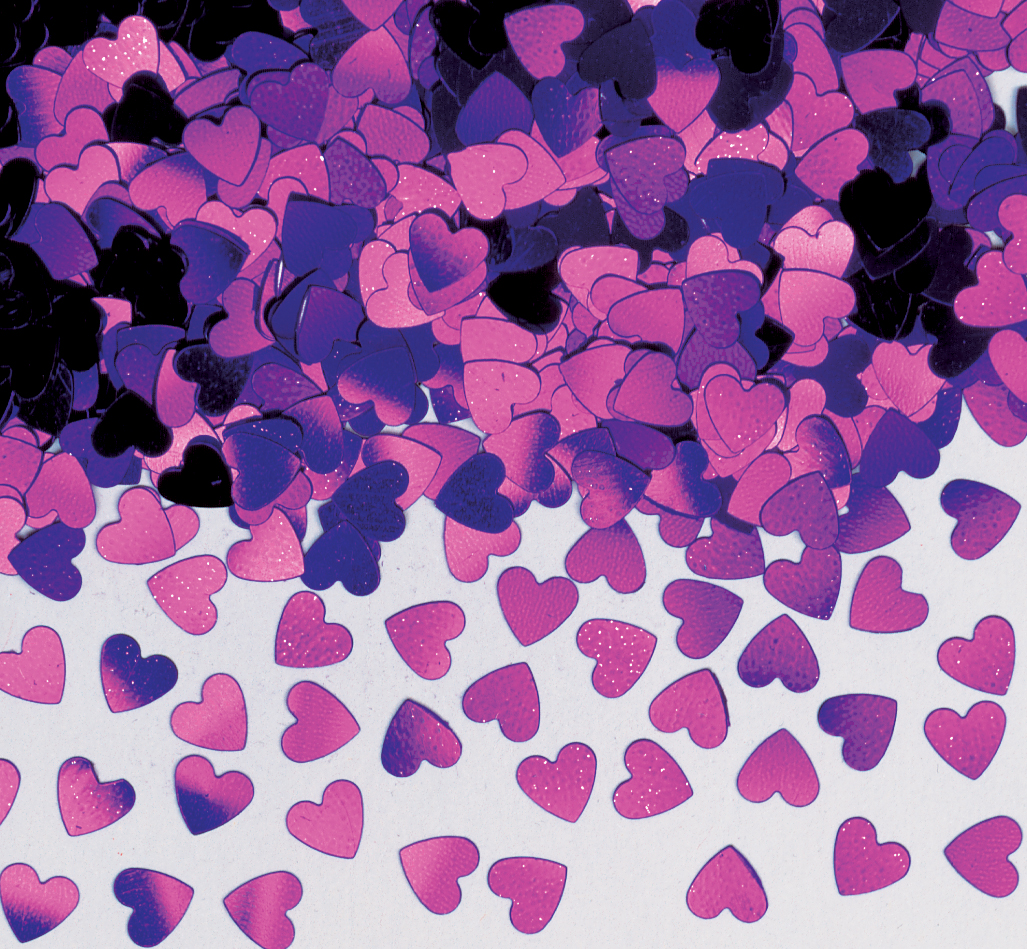 Purple Sparkle Heart Metallic Confetti