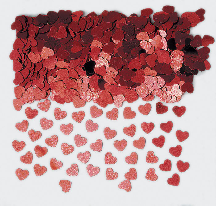 Red Sparkle Heart Metallic Confetti