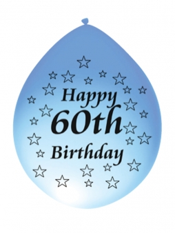 60th Birthday Airfill Latex Balloons. Pk 10 Mixed Colours.