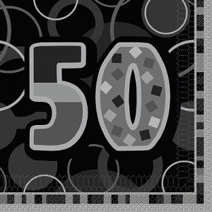 50th Glitzy Black/Silver Lunch Napkins (16)