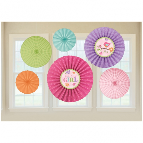 Baby Girl Paper Fan Decorations (6)