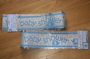 Baby Shower Blue Foil Banner