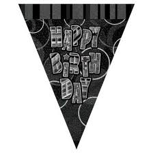 Glitzy Black/Silver Happy Birthday Pennant Bunting