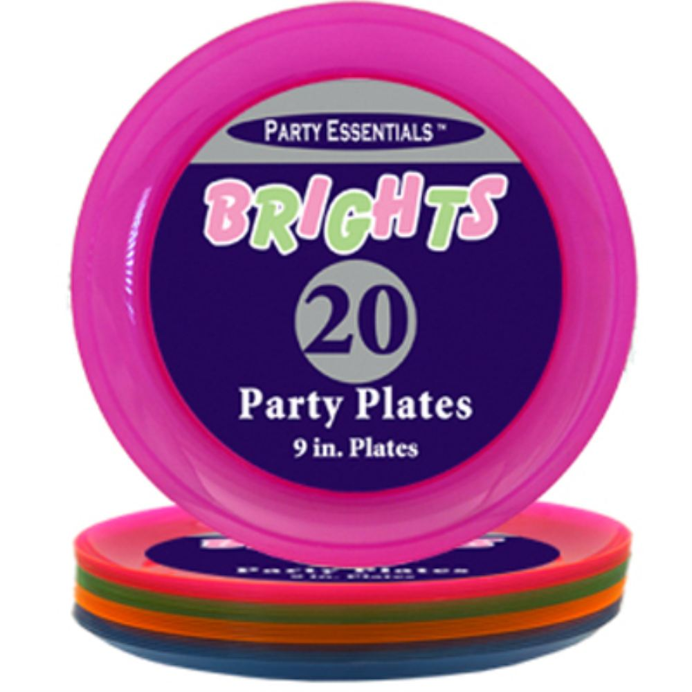 Neon Assorted Plastic Party Plates (20)