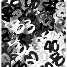 40th Black/Silver Metallic Confetti