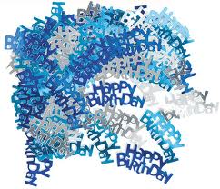 Happy birthday Blue/Silver Metallic Confetti