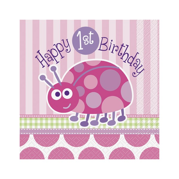 Happy 1st Birthday Ladybug Lunch Napkins(16)