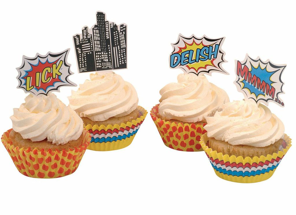 Pop Art Cup Cake Cases & Toppers