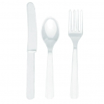 White Plastic Cutlery (For 6)
